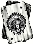 B&W Ace Playing cards With Old School American Indian Skull Headdress Vinyl Car Sticker 100x75mm